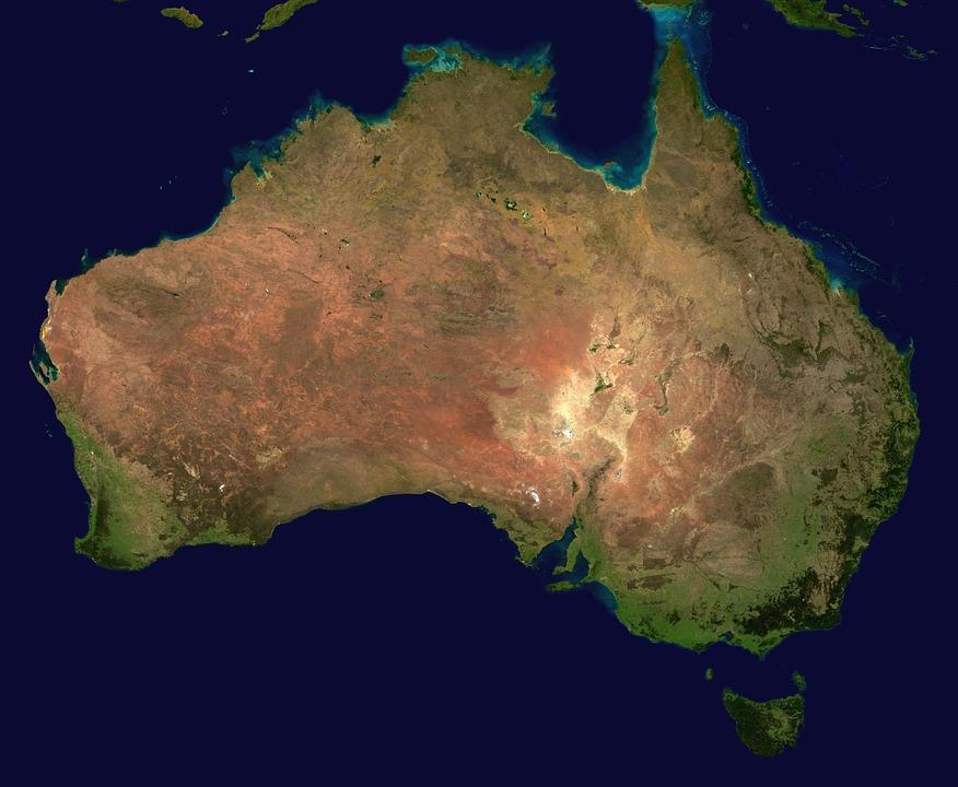 Vue du dessus de l'Australie en Océanie